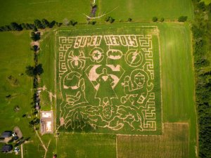 Super Heroes Corn Maze at Irons Mill Farmstead